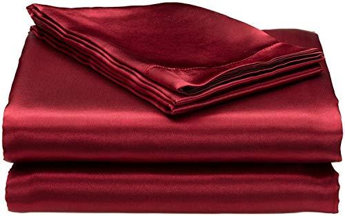 Bedding Emporium 100% Pure Silk Satin Sheet Set 7pcs, Silk Fitted Sheet 15'' Deep Pocket,Silk Flat Sheet,Silk Duvet Cover & Pillowcases Set !!! Queen, Burgundy