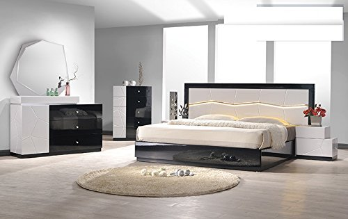 Modern Berlin 4 Piece Bedroom Set Queen Size Bed Mirror Dresser Nightstand Black / White Lacquer Headboard Has Mirror & Light Bedroom Furniture ()