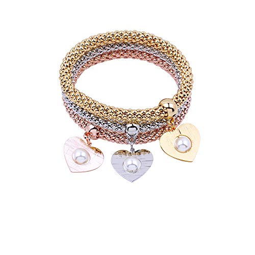 (MEIDIJINGBEI 3PCS Gold/Silver/Rose Gold Corn Chain Crystal Charms Multilayer Bracelets for Women (Heart-Shaped))