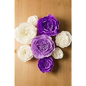 Paper Flower Decorations, Crepe Paper Flowers, Large Paper Flowers, Handcrafted Flowers, Giant Paper Flowers (Purple, Beige, Lavender, Set of 8 ) for Wedding Backdrop, Bridal Shower, Baby Shower 2