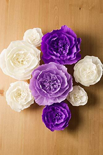 Paper-Flower-Decorations-Crepe-Paper-Flowers-Large-Paper-Flowers-Handcrafted-Flowers-Giant-Paper-Flowers-Purple-Beige-Lavender-Set-of-8-for-Wedding-Backdrop-Bridal-Shower-Baby-Shower