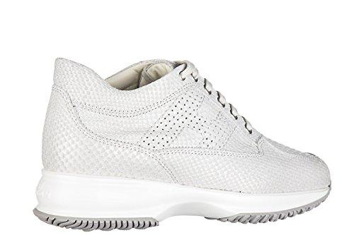 Hogan Chaussures Sneakers Femme En Cuir Nouvelle Interactive H Bucata Blanc