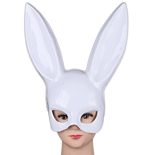 QINJH Bar KTV Halloween Makeup Ball Rabbit Ear Mask Bunny Mask Easter Bunny Mask (White) (Halloween Pumpkin Faces Pics)