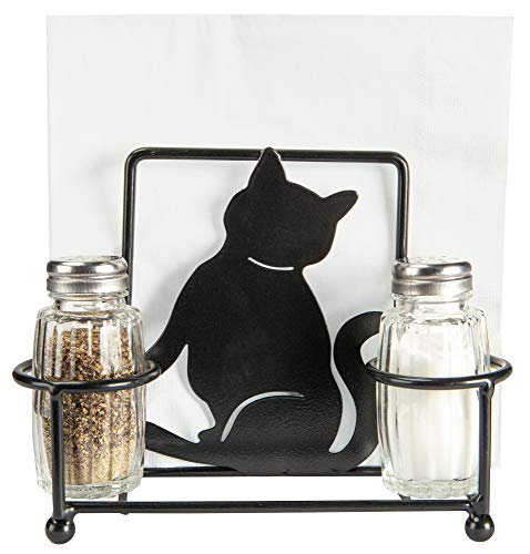 (Kitty Cat Napkin Holder with Glass Salt and Pepper Shakers, Decorative Kitten Cat Bar or Dining Room Table Decor, Gifts for Pet Owners)