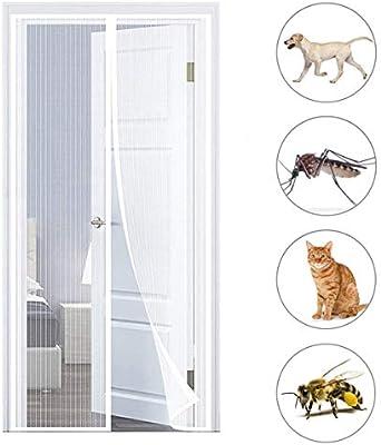 NO LOGO Mosquitera Puerta Corredera Magnetica 95x215cm Verano Cortina magnética Tejido Súper Fino para Puertas Correderas, Terraza, Balcones, Blanco A: Amazon.es: Hogar