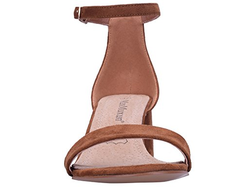 MaxMuxun Zapatos de Tacón Bajo Cuadrado Clásico con Cordones y hebillas Para Mujer marrón