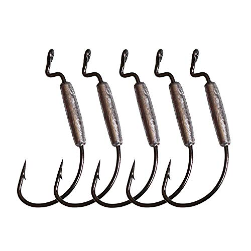 (LikeFish 5pcs/Pack Weighted Hooks Weighted Superline Extra Wide Gap Hook 1.8g 2g 3.8g 6.4g (3/0-5pcs))
