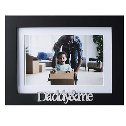 Klikel Daddy and Me Picture Frame - Black Wood Frame with Silver Sentiments - Holds 1 4x6 Photo with Mat or 1 5x7 Photo Without Mat - Wall Mount and Table Desk Display (Daddy Photo Frame)
