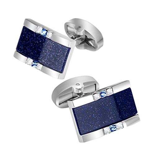 - LimiFas Rectangular Blue Sandstone Crystal Cufflinks Men's High-end Business Luxury Bright Wedding Cufflinks Blue