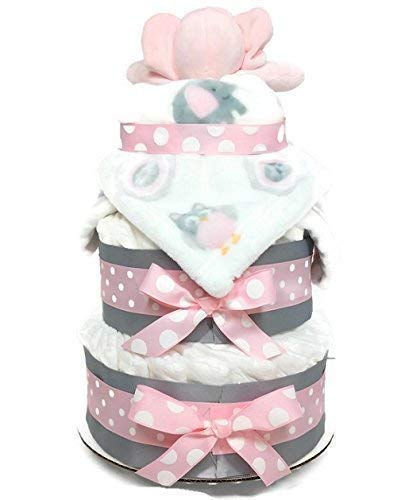 Pink Elephant Baby Girl Diaper Cake - 3 Tier Baby Shower Centerpiece with Security Blanket