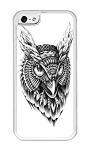 linJUN FENGApple Iphone 5C Case,WENJORS Uncommon Ornate Owl Head Soft Case Protective Shell Cell Phone Cover For Apple Iphone 5C - TPU White