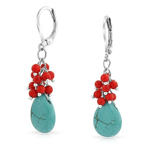 Compressed Turquoise Blue Dyed Coral Red Teardrop Pear Crystal Drop Leverback Earrings For Women Silver Plated ()
