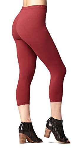 Premium Ultra Soft Womens High Waisted Capri Leggings - Cropped Length - Solid - Apple Butter - Small/Medium (0-12)