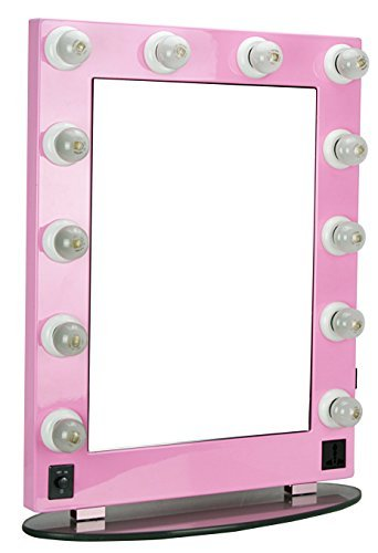 HIKER Lighted Vanity Mirror in Pink Glossy, Dimmer-HKL430...