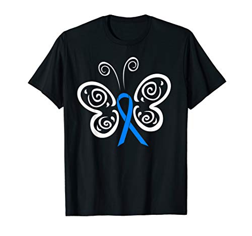 Blue Awareness Ribbon Butterfly Tribal Tattoo T-shirt ()