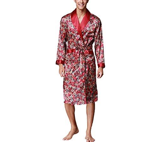 Lungo Stile Accappatoio Kimono Uomo Abito Raso Asskyus In Rosso Da Leggero Vino Per Notte nPw8dqwHvx