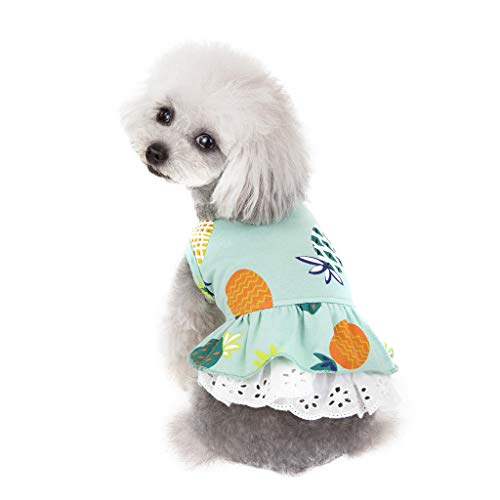 ABCOnline Puppy Clothes, Summer Pet Dog Costumes Clothing Dog Pineapple Pattern Shirt Skirt Dress]()