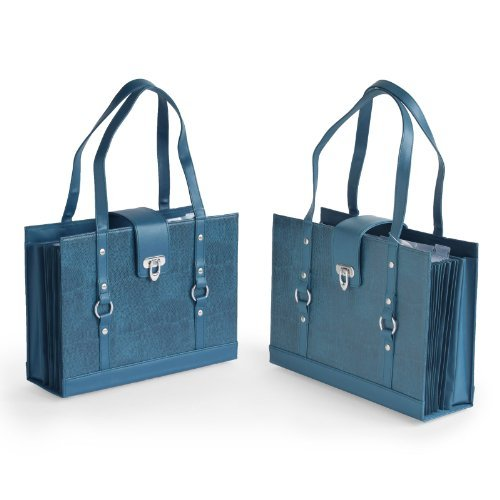 Texture Faux Leather File Organizer Tote -Teal color