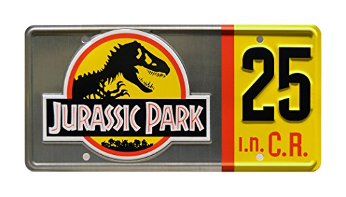 (Celebrity Machines Jurassic Park | 25th Anniversary Silver Edition | Metal Stamped Vanity License Plate)