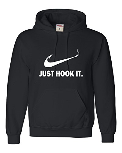 (Go All Out Large Black Adult Just Hook It Funny Fishing Sweatshirt Hoodie )