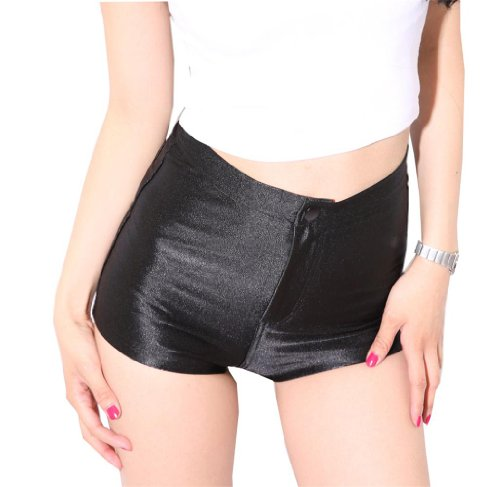 iLoveSIA Women's Sexy Shorts Hot Pants High Waist Black Size M