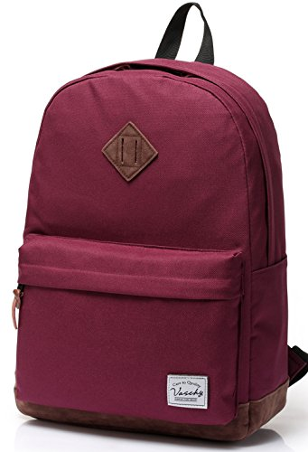 Vaschy Unisex Classic Lightweight Water-resistant Campus School Rucksack Travel BackPack Burgundy Fits 14-Inch Laptop by Vaschy