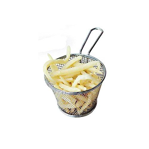 Mini Chip cesta, cesta de redondo chapado en cromo para freír fugas de aceite de acero inoxidable para Chips, patatas...