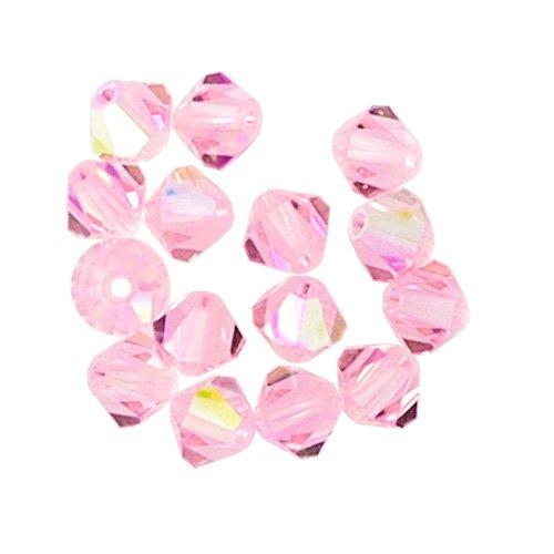 100 pcs 4mm Swarovski 5301 Crystal Bicone Beads, Rosaline AB, SW-5301
