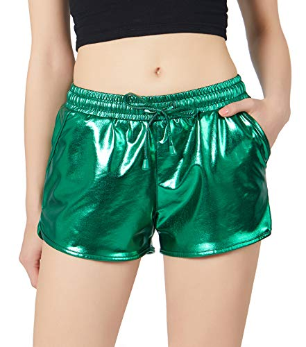 - POSHDIVAH Green Metallic Shorts for Women Hot Sparkly Shiny Shorts with Elastic Drawstring XXXL