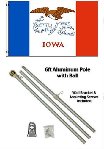 Moon Knives 3x5 State of Iowa Flag Aluminum Pole Kit Gold Ball Top - Party Decorations Supplies For Parades - Prime Outside, Garden, Men Cave Decor - Iowa Kit State Party