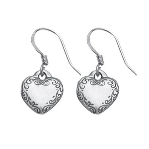 DANFORTH - Victorian Heart Mini Earrings - 1/2 Inch - Pewter - Surgical Steel Wires - Handcrafted - Made in USA