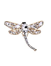Golden Tone Rhinestones Dragonfly Charm Brooch Pin