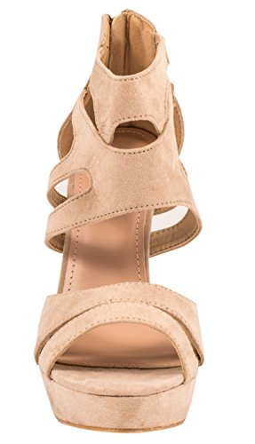 Femmes Beige Talons Chaussures Hauts Plateforme Escarpins aq80tHw