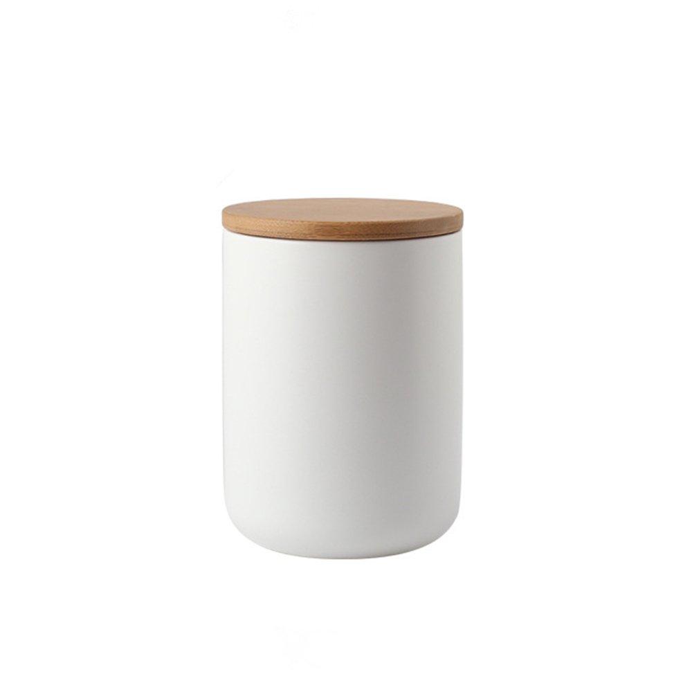 OnePine 260ml/9 oz Air Tight Jars Ceramic Food Storage Jar Set with Airtight Seal Bamboo Lid - Tea, Sugar, Coffee, Spice Canister Set (White)