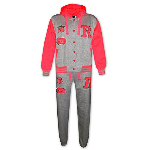 Kids Girls Boys Hooded Baseball Varsity Tracksuit Hoodie Bottom Set Joggers 7-13 ()
