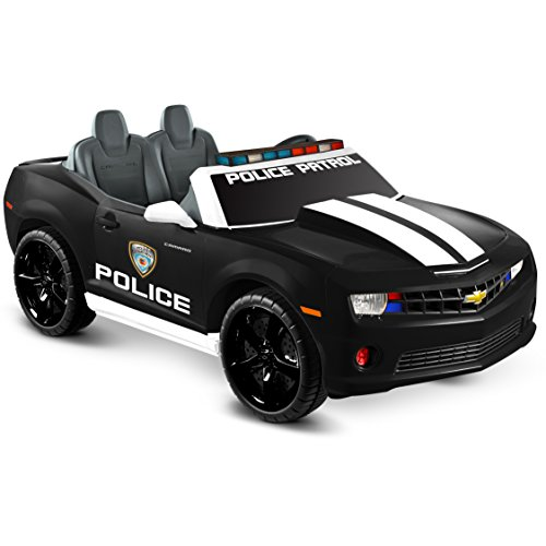 Kid Motorz Chevrolet Racing Camaro Police Edition Two Seater 12V Electric Ride On with Realistic Emergency Lights, sirens & MP3 Line-In Jack Battery Powered Riding Toy Ride On ()