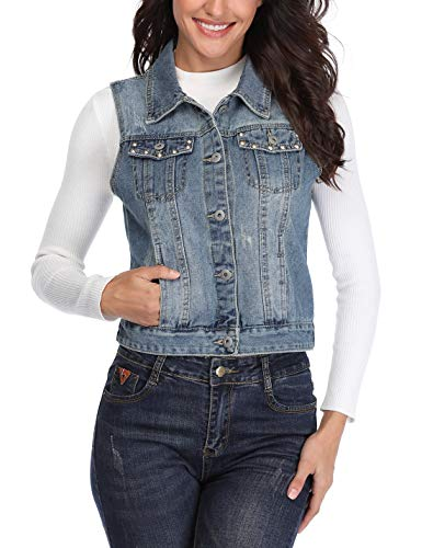 0b0314f6a0672 MISS MOLY Denim Vest for Women Sleeveless Button up Washed Cropped Jean  Jacket