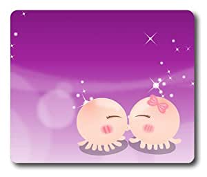 Cartoon Octopus Kissing Rectangle Mouse Pad by Lilyshouse