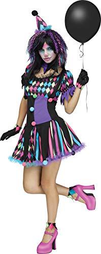 Fun World Adult Women's Twisted Circus Clown Costume, Multi, -