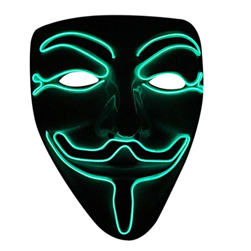 Nuoka Halloween Cosplay Masquerades LED Mask V for Vendetta Mask (Green) for $<!--$6.99-->