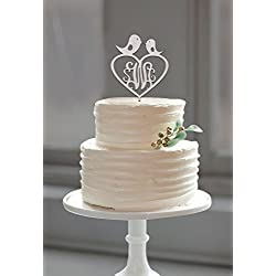 Buythrow Customized Monogram Love Birds Wood Cake Topper with Heart