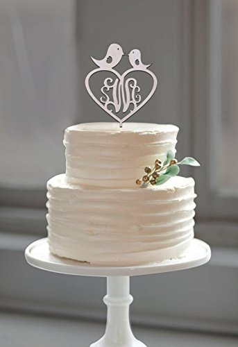 Buythrow-Customized-Monogram-Love-Birds-Wood-Cake-Topper-with-Heart