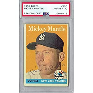 1958 Mickey Mantle Autographed Signed Topps #150 Yankees Base Psa/Dna Slabbed