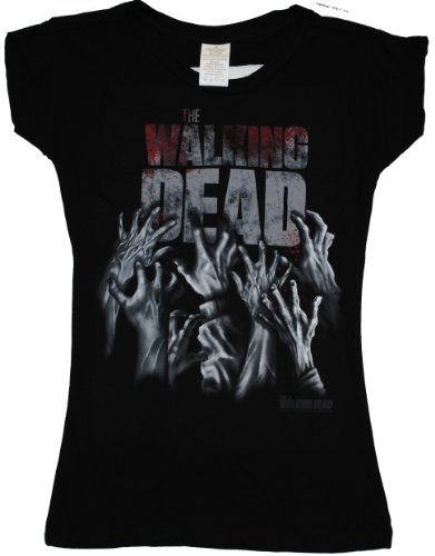 The Walking Dead Hands Blood Splatter Logo Crew-Neck Juniors Laser-Cut T-shirt