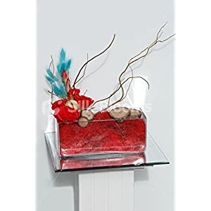 Fresh Touch Red Rose & Aqua Foxtail Trough Vase Table Display 119