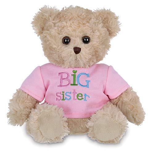 Bearington Ima Big Sister Plush Stuffed Animal Teddy Bear in Pink T-Shirt, 12 Inches