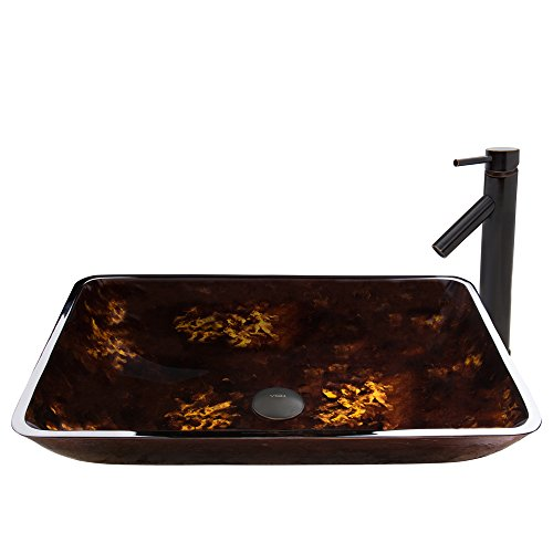 VIGO Rectangular Brown and Gold Fusion Glass Vessel Bathroom Sink and Dior Vessel Faucet with Pop Up, Antique Rubbed Bronze