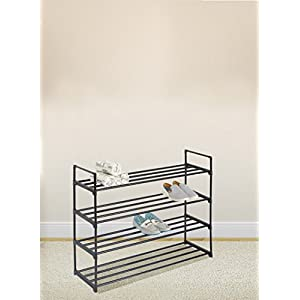 Black 4-Tier Shoe Rack Shoe Tower Shelf Storage Organizer Cabinet