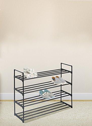 Black 4-Tier Shoe Rack Shoe Tower Shelf Storage Organizer Cabinet