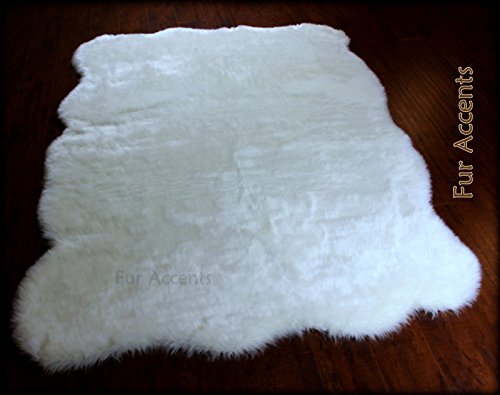 Fur Accents Freeform Shaggy Plush Faux Fur Sheepskin Accent Rug / Off White 5